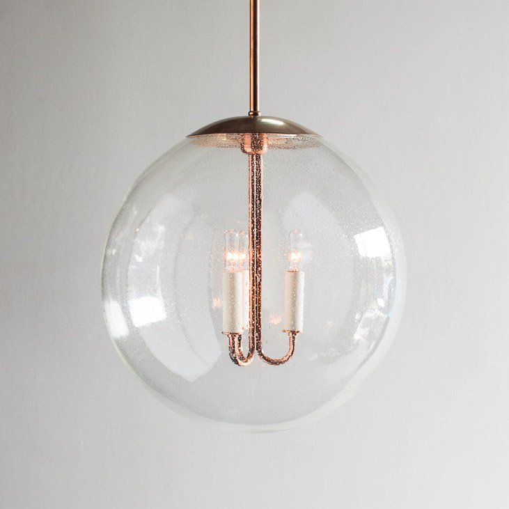 "16"" Belmont Circle, copper with seeded glass, pendant lamps"