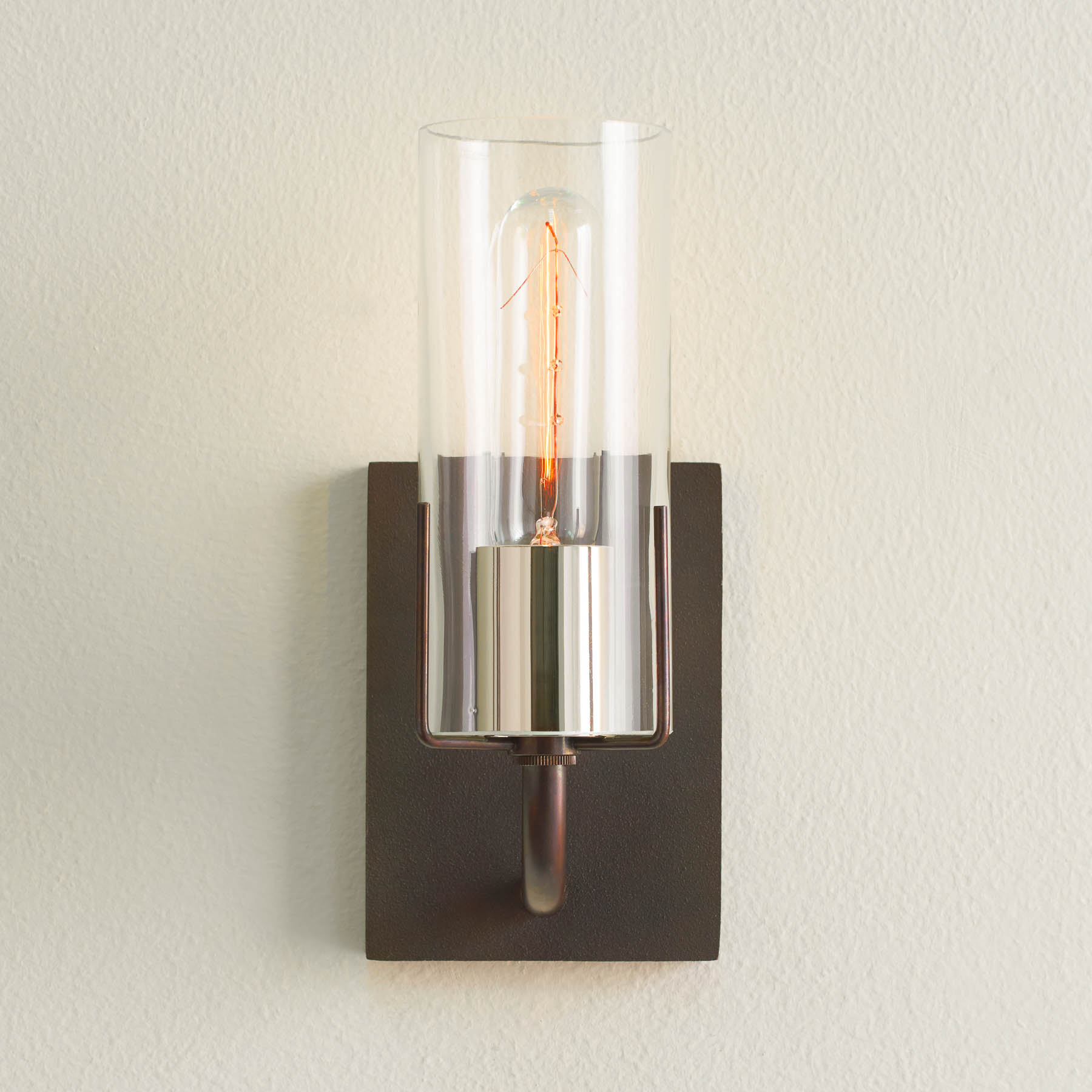Evergreen Sconce with silver sleeve, wall sconces