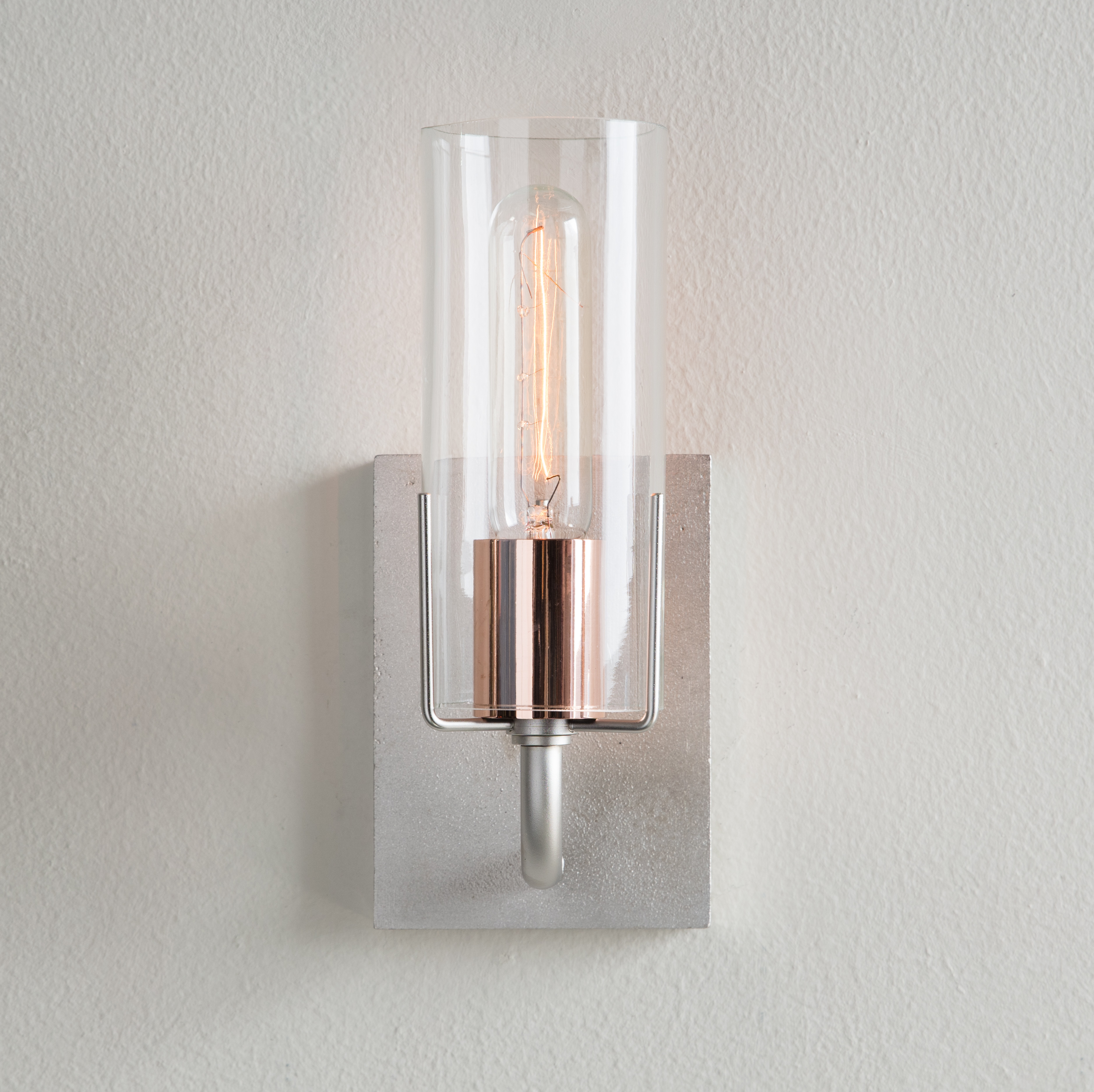 Evergreen Sconce, brushed nickel with copper sleeve
