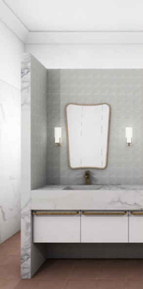 Evergreen Sconce in bathroom, wall sconces