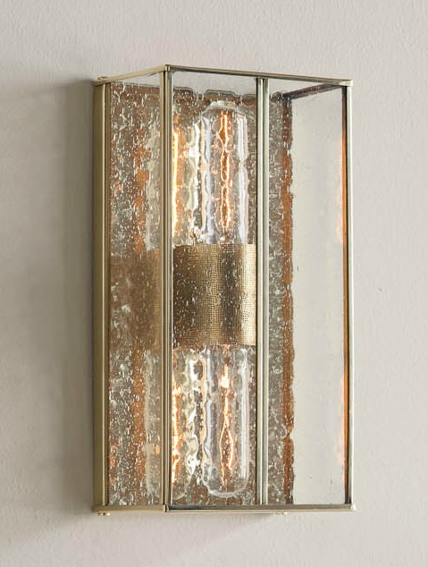 Ruby Wall Bracket, polished brass with seeded glass (angle)