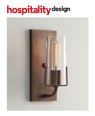 The Dewberry Sconce mentioned in Hospitality Design Magazine