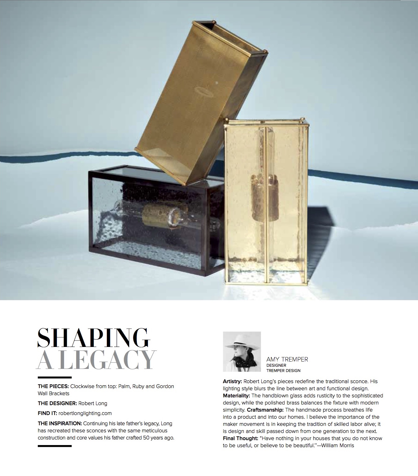 The Palm, Ruby, and Gordon Wall Brackets showcased in Luxe Magazine.