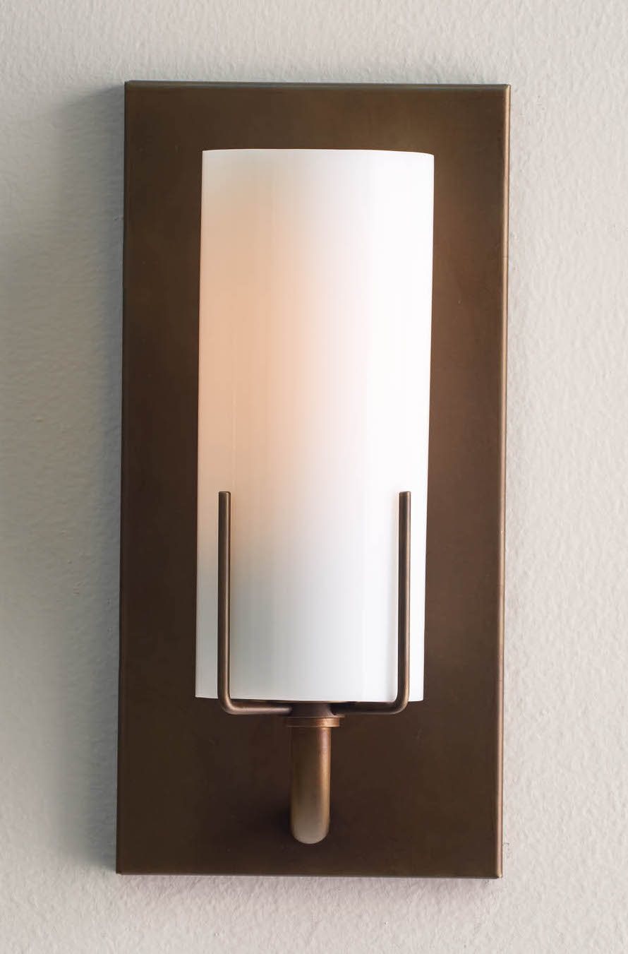 Dewberry Sconce, brass finish with opal glass, wall sconces