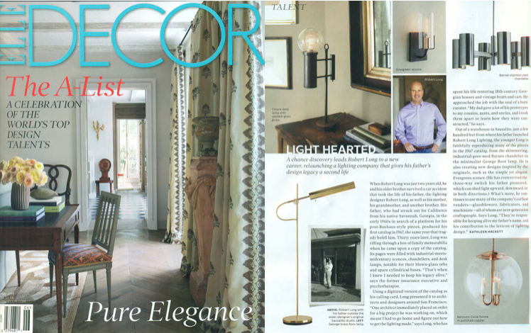 Robert Long Lighting featured in Elle Decor.